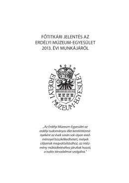 Főtitkári jelentés a EME 2013. évi tevékenységéről (pdf)