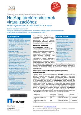 NetApp tárolórendszerek virtualizációhoz