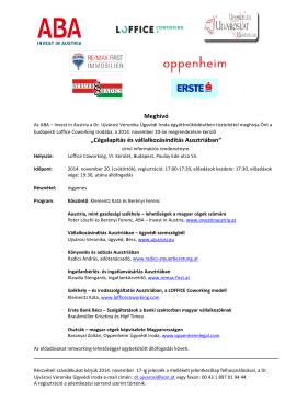 Cégalapítás és vállalkozásindítás Ausztriában / Meghívó