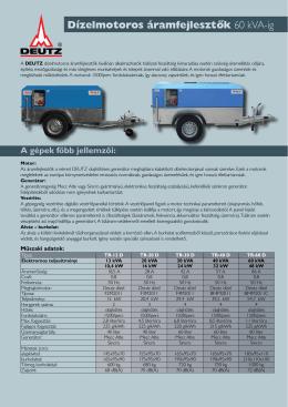 DEUTZ dízelmotoros áramfejlesztők 13-60 kVA-ig