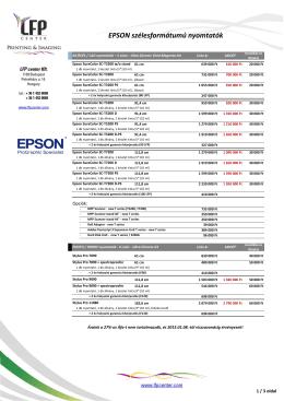 EPSON szélesformátumú nyomtatók és tinták