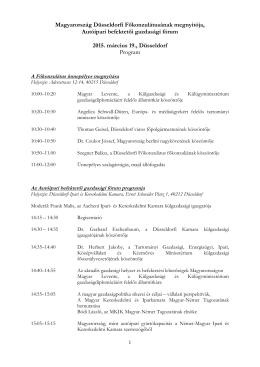 Program - Magyar Kereskedelmi és Iparkamara