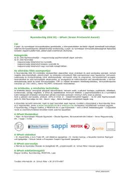 Nyomdavilág Zöld Díj – GPwA (Green Printworld Award) Cél