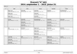 """Órarend (""""A"""" hét) 2014. szeptember 1."""