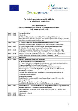 GREENINFRANET - Program (aktualizált)