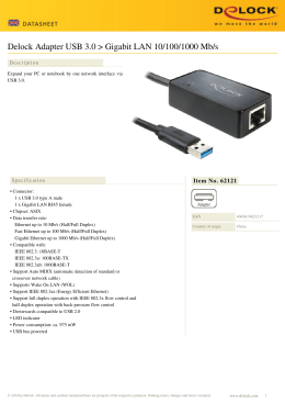 Delock Adapter USB 3.0 > Gigabit LAN 10/100/1000 Mb/s