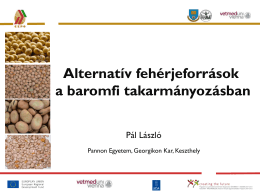 Alternatív fehérjeforrások a baromfi takarmányozásban