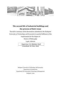 The second life of industrial buildings and the process of their reuse