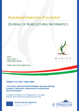Agrárinformatika folyóirat - Journal of Agricultural Informatics