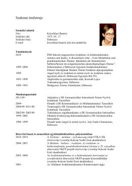 Szakmai önéletrajz - Beatrix Kricsfalusi