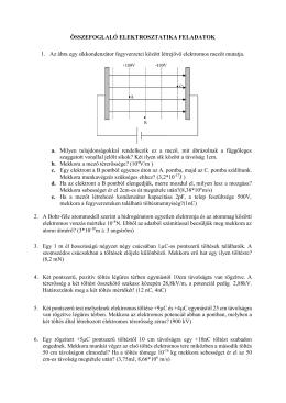 ÖSSZEFOGLALÓ ELEKTROSZTATIKA FELADATOK 1. Az ábra egy