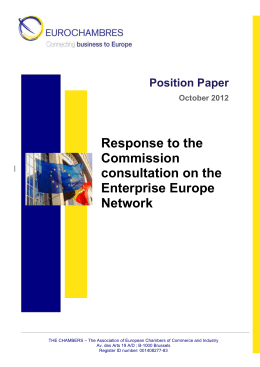 EUROCHAMBRES Response EC Consultation EEN Oct 2012