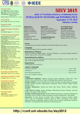 SISY 2015 - Conferences @ Óbuda University
