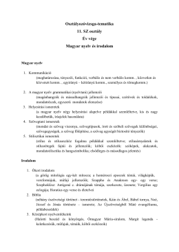 Osztályozóvizsga-tematika 11. SZ osztály Év vége Magyar nyelv és
