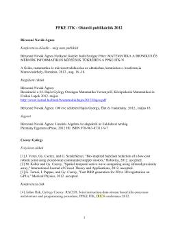 PPKE ITK - Oktatói publikációk 2012