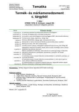 Tematika Termék- és márkamenedzsment c