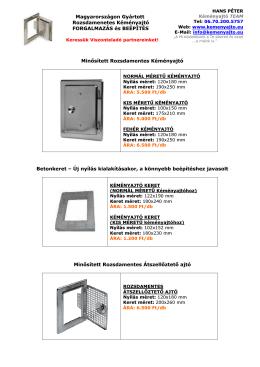 ÁRLISTA 2012 - Kéményajtó Forgalmazás, Beépítés