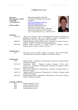 CURRICULUM VITAE Full name: Márta Julianna Sárközy MD PhD