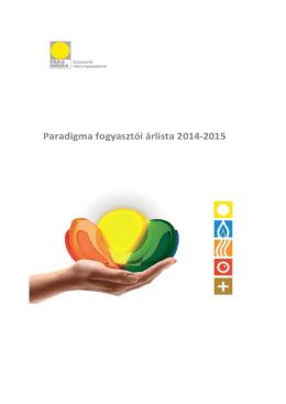 Paradigma fogyasztói árlista - 2014