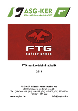 FTG munkavédelmi lábbelik 2013 - ASG