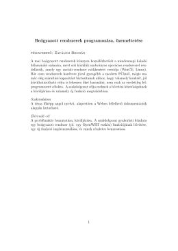 Beágyazott rendszerek programozása, üzemeltetése