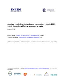 Analýza verejného obstarávania - Transparency International