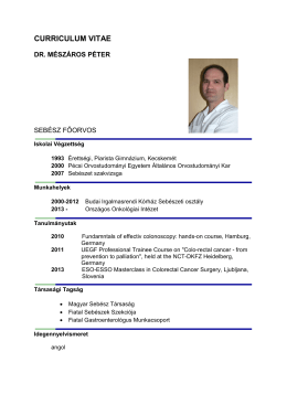 Dr. Mészáros Péter - Országos Onkológiai Intézet