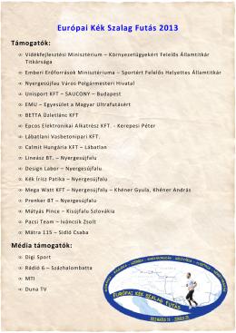 Európai Kék Szalag Futás 2013 Támogatók