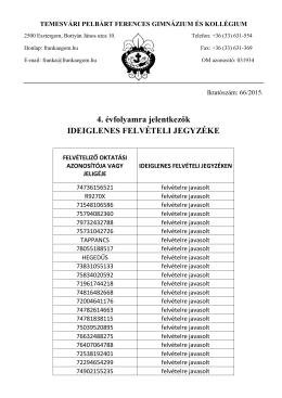 ideiglenes felvételi jegyzék 4 évfolyamos gimnázium