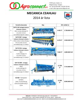 MECANICA CEAHLAU 2014 ár lista