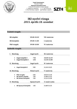 Áprilisi IKI Intézményi Nyelvi Vizsga vizsgabeosztása