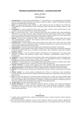Všeobecné podmienky členstva – vernostný klub SIKO
