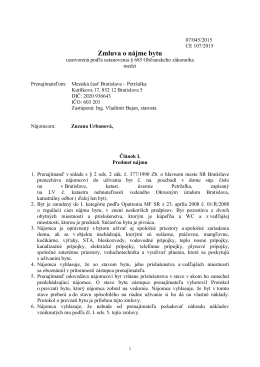 Zmluva č. 107/2015 o nájme bytu - Mgr. Art. Zuzana