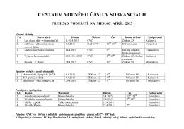 Plán podujatí na apríl 2015