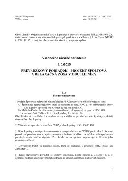 VZN č. 1/2015 Prevádzkový poriadok
