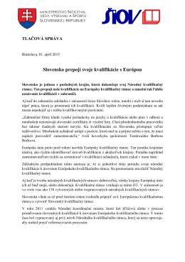 Slovensko prepojí svoje kvalifikácie so zvyškom Európy