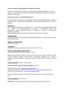 Pracovná ponuka: Kouč/praktikant pre školenia na tablety