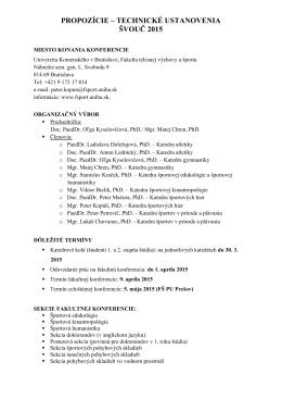 propozície - Fakulta telesnej výchovy a športu