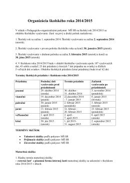Organizácia školského roka 2014/2015