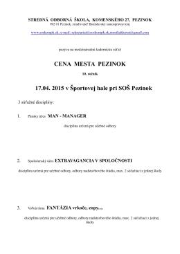 Propozície Cena Mesta Pezinok 2015