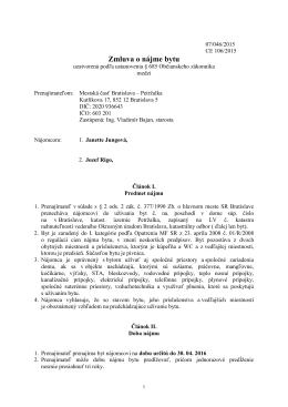 Zmluva č. 106/2015 o nájme bytu - Janette Jungová