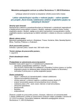 native speaker pre projekt - Metodicko