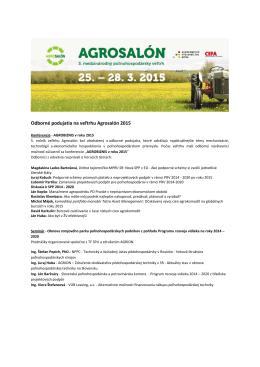 Odborné podujatia na veľtrhu Agrosalón 2015