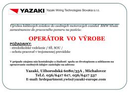 OPERÁTOR VO VÝROBE - YAZAKI Wiring Technologies Slovakia sro