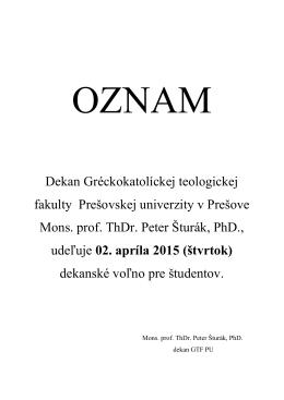 Oznam - 02.04.2015