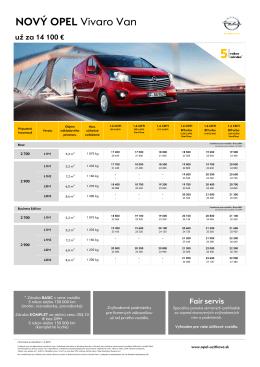 Vivaro Van cenník - Úžitkové vozidlá Opel