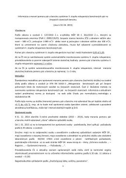 1 Informácia o meraní pomeru pár a benzínu systémov II. stupňa