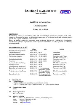 Šarišský slalom - Prešov 03.05.2015