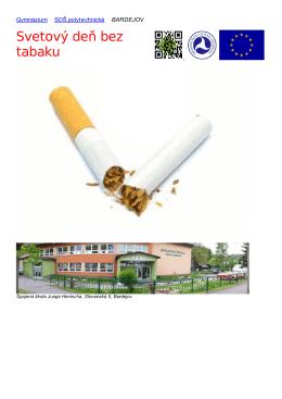 Svetový deň bez tabaku - Spojená škola J. Henischa