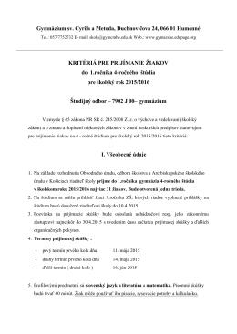 Gymnázium sv. Cyrila a Metoda, Duchnovičova 24, 066